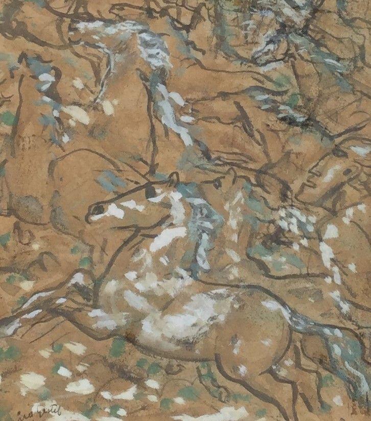 Schilderijen te koop, kunstschilder Leo Gestel, C4223 Paardje, gemengde technieken op papier, beeldmaat 19 x 17 cm, r.o. gesigneerd, gedateerd 31, expositie Galerie Wijdemeren Breukeleveen