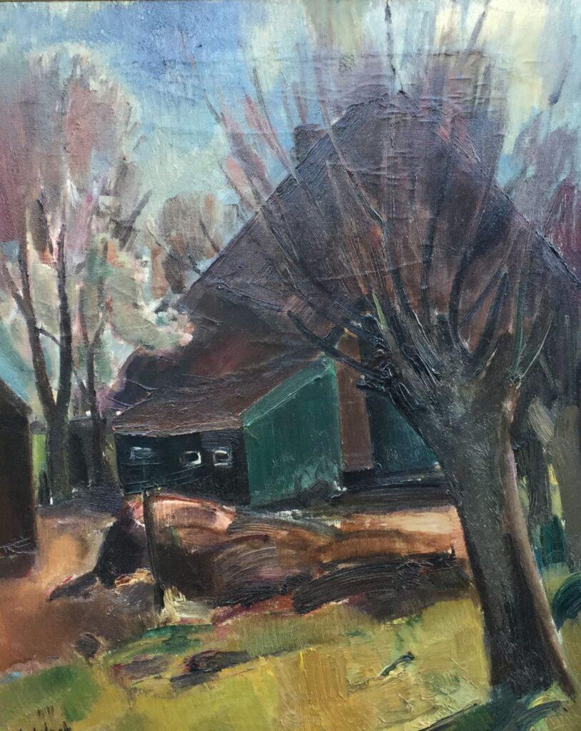 Schilderijen te koop, kunstschilder Arn. Colnot, c4224 Schuur met knotwilgen olieverf op doek, 72.5 x 59.5 cm l.o. gesigneerd, expositie Galerie Wijdemeren Breukeleveen