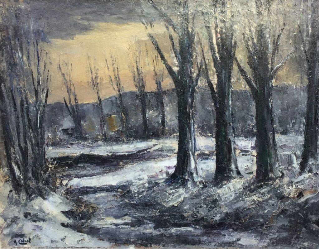 Schilderijen te koop, kunstschilder Arnout Colnot, C4225 Besneeuwd landschap met bomen Olieverf op doek, 70.5 x 90 cm Linksonder gesigneerd, Expositie Galerie Wijdemeren Breukeleveen