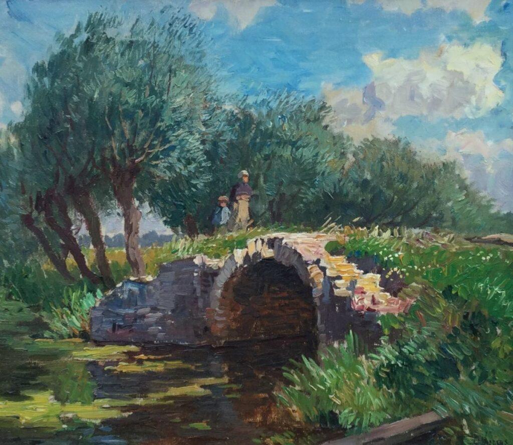 Schilderijen te koop, kunstschilder Ben Viegers, C4226 Kinderen bij bruggetje olieverf op doek, 38.5 x 43.5 cm, expositie Galerie Wijdemeren Breukeleveen