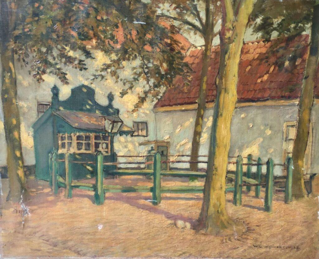 Kunstenaar Wilhelmus Lambertus (Willem) Wijmans C4232, W.L. Wijmans, binnenhofje olieverf op doek, r.o. gesigneerd en gedateerd 1937