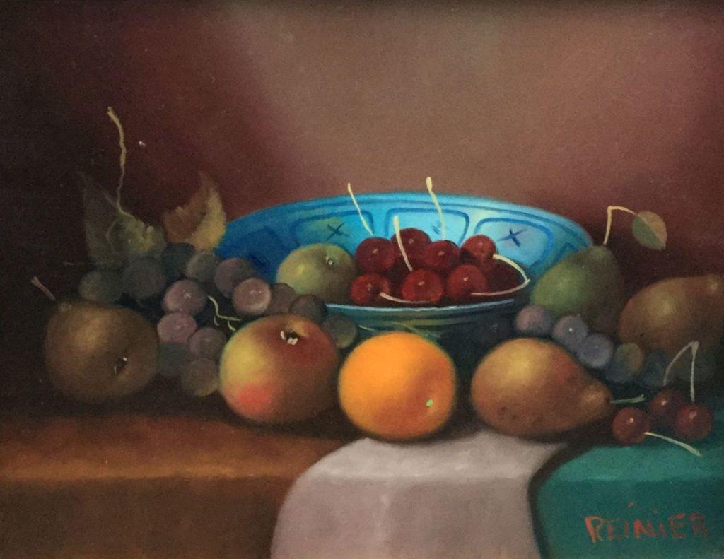 Schilderijen te koop, kunstschilder Reinier Wildeboer Stilleven met fruit in blauwe schaal gesigneerd, expositie Galerie Wijdemeren Breukeleveen