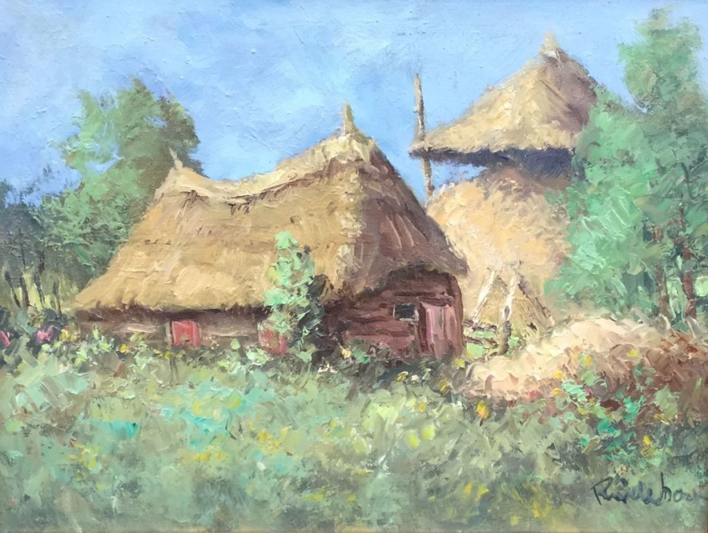 Schilderijen te koop, kunstschilder Roel Wildeboer Boerderij met hooibergen Olie op doek, 30.5 x 40.5 cm rechtsonder gesigneerd, expositie Galerie Wijdemeren Breukeleveen