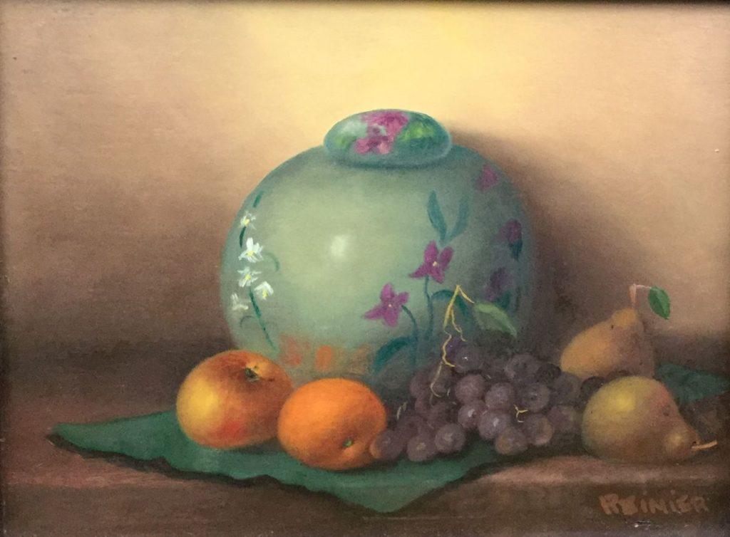 Schilderijen te koop, kunstschilder Reinier Wildeboer Gemberpotje met fruit Olie op paneel, 18 x 24 cm rechtsonder gesigneerd en verso gedateerd 76, expositie Galerie Wijdemeren Breukeleveen