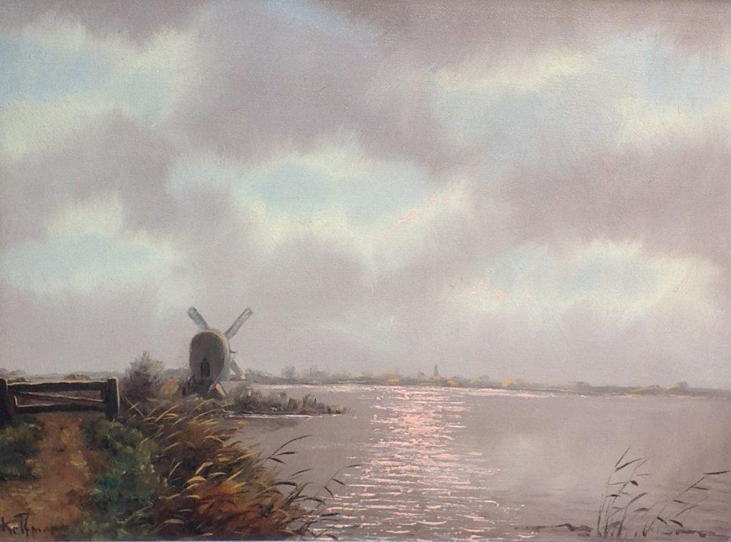 C423 Johannes Schelfman Landschap met molen Olieverf op doek, beeldmaat: 30 cm x 40 cm Linksonder gesigneerd, galerie wijdemeren breukeleveen