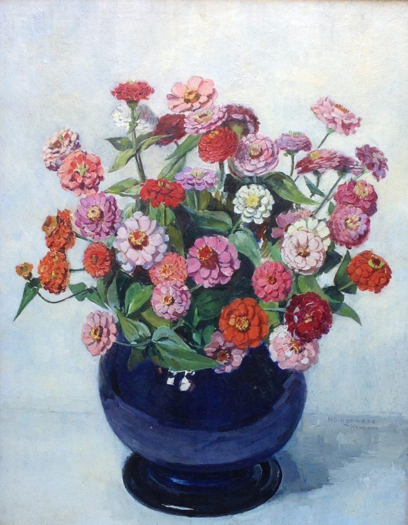 Kunstenaar H.G. Dingemans-Numans C424-7T, H.G Dingemans-Numans,  Bloemstilleven, olie op paneel  50 x 38 cm  r.o. gesigneerd  verkocht