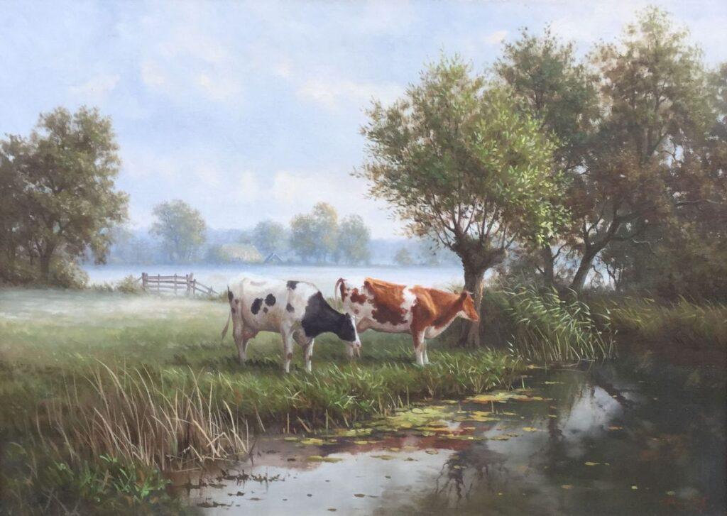Kunstenaar Ron Meilof C4240 Ron Meilof Landschap met koeien olieverf op doek, 50.5 x 70 cm rechtsonder gesigneerd verkocht
