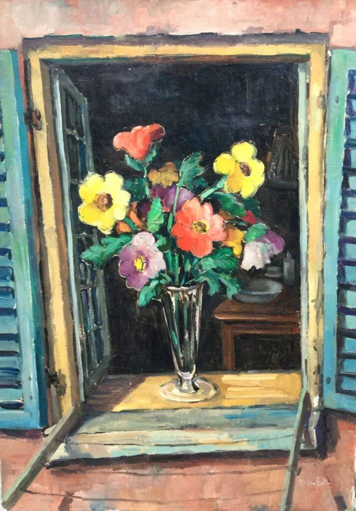 Kunstenaar Dirk den Exter C4241, Dirk den Exter 'Bloemen in de vensterbank' Olieverf op doek Beeldmaat: 70 cm x 50.5 cm Rechtsonder gesigneerd