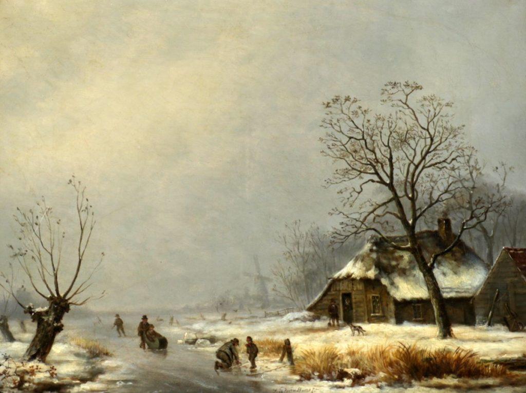 Kunstenaar Theodorus Sebastiaan Voorn Boers C4248 Sebastiaan Theodorus Voorn Boers Winterlandschap olieverf op doek, 37.5 cm x 50.5 cm midden onder gesigneerd gereserveerd
