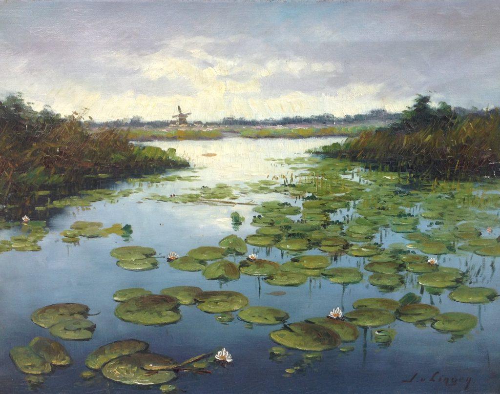 Kunstenaar J. van Lingen C425-1, J. van Lingen Lelieveld olie op doek, 35 x 45 cm r.o. gesigneerd verkocht