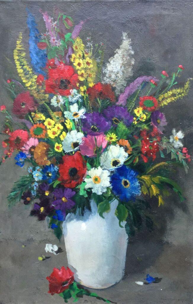Schilderijen te koop van kunstschilder Jan den Hengst bloemstilleven olieverf op doek, 60 x 40 cm rechtsonder gesigneerdd, Expositie Galerie Wijdemeren Breukeleveen