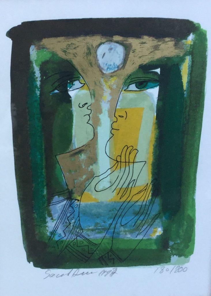 Schilderijen te koop van kunstschilder Saad Ali Twee figuren litho, 30 x 22 cm linksonder handgesigneerd, oplage 180 v 200, Expositie Galerie Wijdemeren Breukeleveen