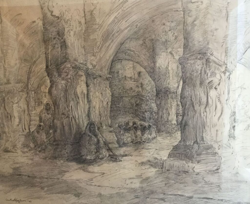 Schilderijen te koop van kunstschilder Anton Heyboer Oosterse mensen onder gewelf gemengde techniek, beeldmaat 57 x 70 cm linksonder gesigneerd, Expositie Galerie Wijdemeren Breukeleveen