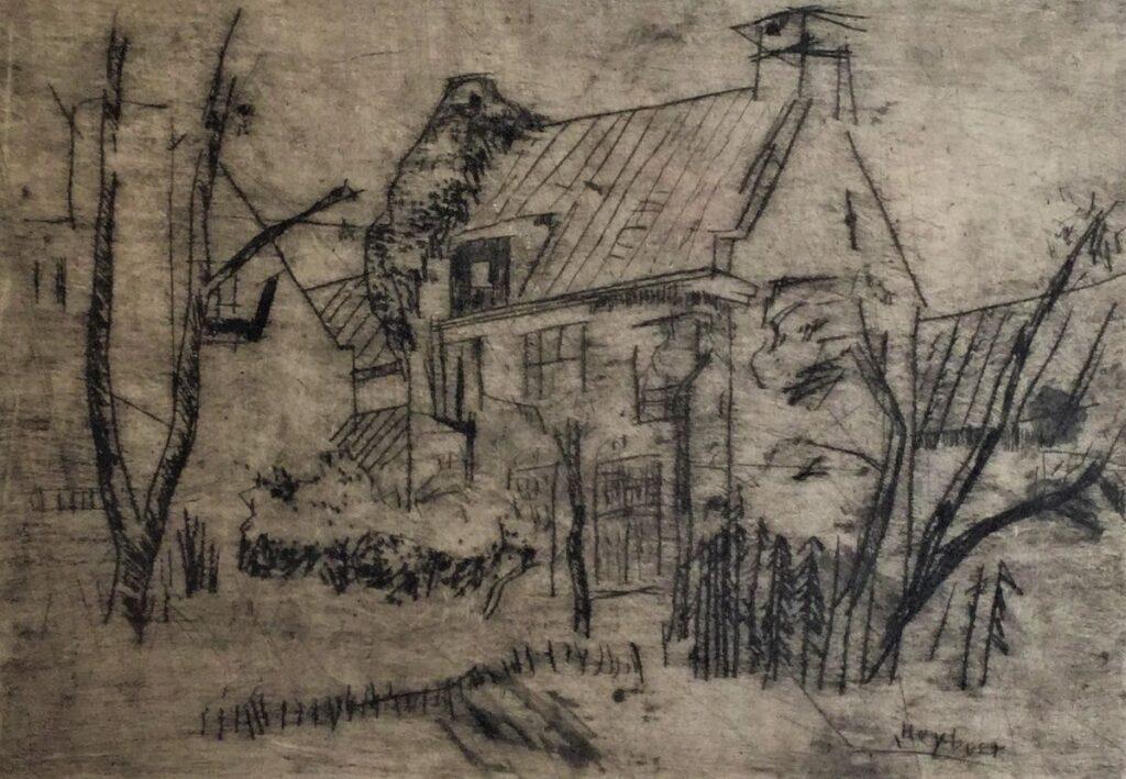 Schilderijen te koop van kunstschilder Anton Heyboer huis in winterlandschap ets, beeldmaat 31,5 x 45 cm rechtsonder gesigneerd in ets, Expositie Galerie Wijdemeren Breukeleveen