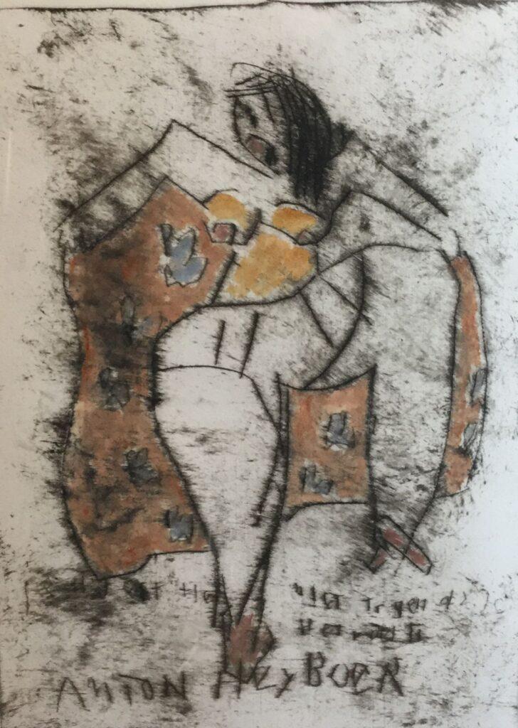Schilderijen te koop van kunstschilder Anton Heyboer Vrouwfiguur Eigen druk ets, beeldmaat 46.5 x 34 cm linksonder handgesigneerd, Expositie Galerie Wijdemeren Breukeleveen