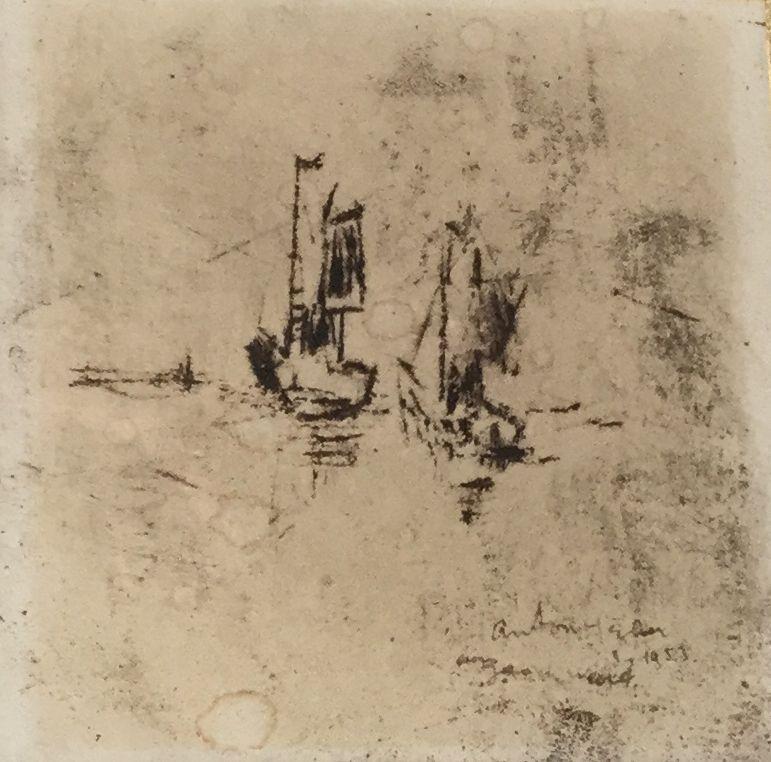 Anton Heyboer zeilbootjes ets, beeldmaat 11 x 11 cm rechtsonder gesigneerd en gedateerd 1953