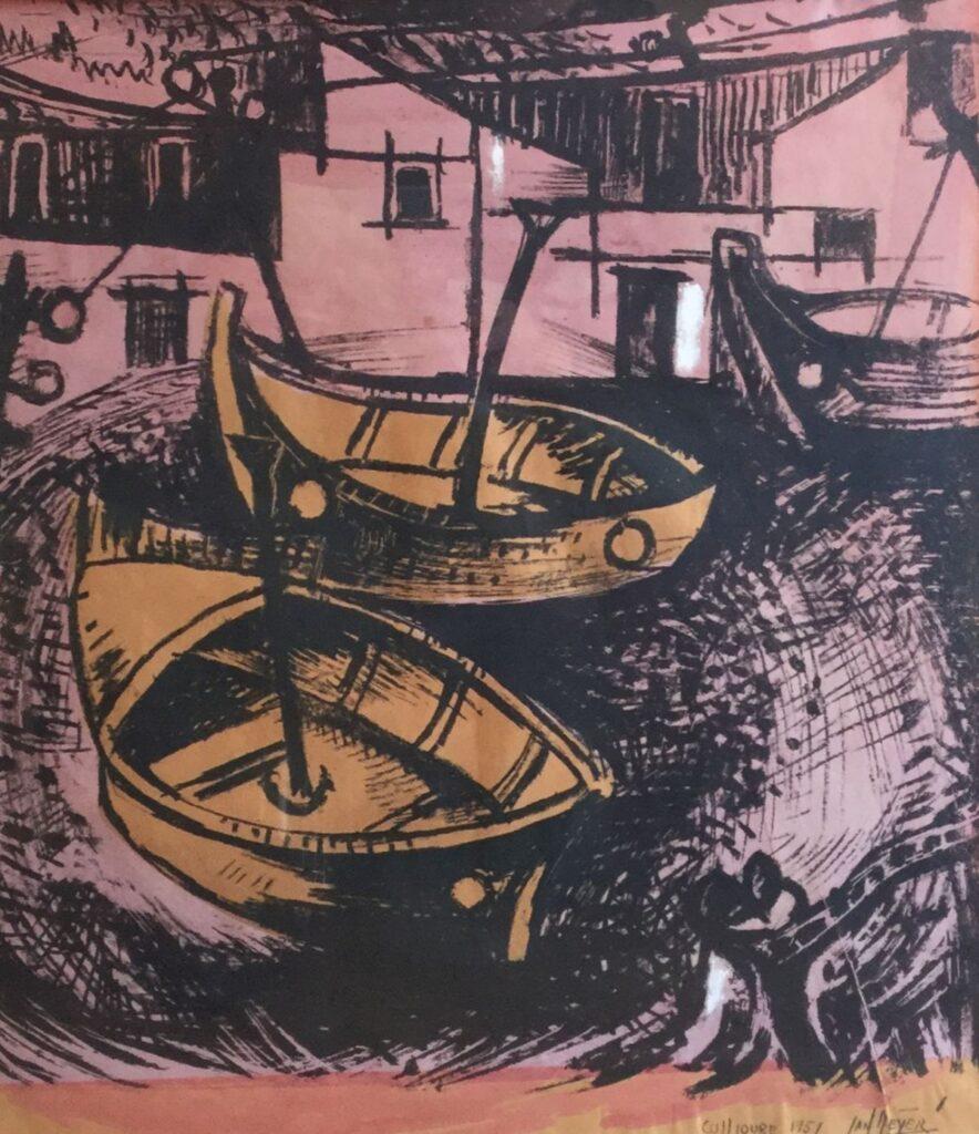 Schilderijen te koop van kunstschilder J. Meijer Haven van Coullioure, Frankrijk gemengde techniek, beeldmaat 50 x 45 cm rechtsonder gesigneerd, Expositie Galerie Wijdemeren Breukeleveen