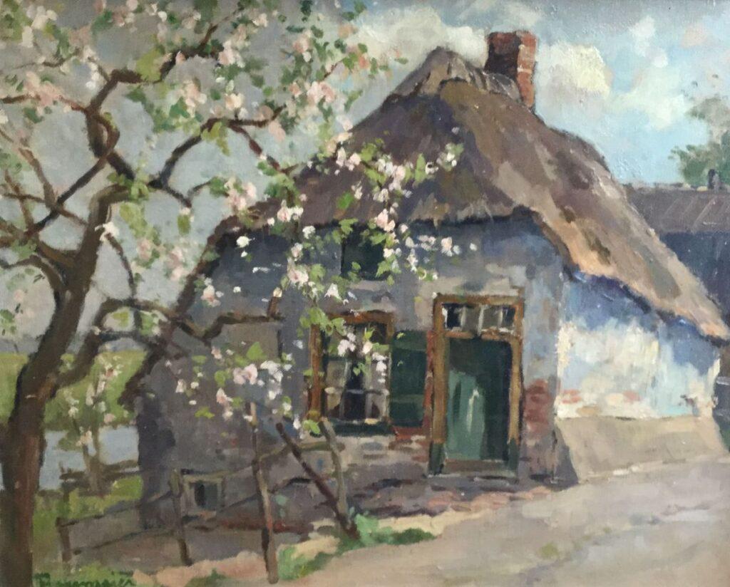 Kunstenaar A.C. Rosemeier Boerderij met bloeiende bloesemboom olieverf op doek, beeldmaat: 40,5 x 50,5 cm, l.o. gesigneerd