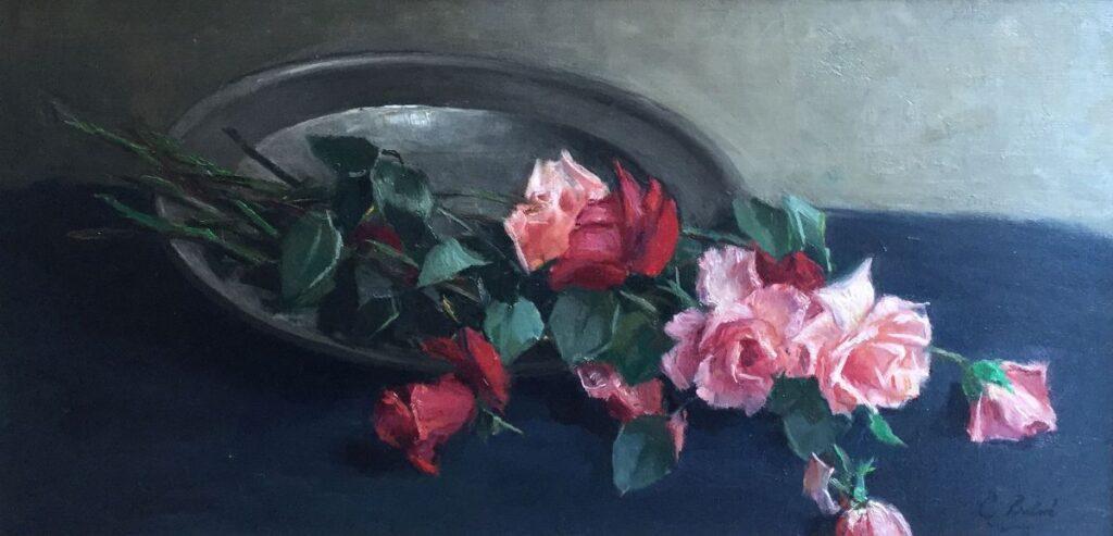 Kunstenaar Constantia Arnolda Balwé C4265-8, Constantia Arnolda Balwé Stilleven met rozen op tinnen schaal olieverf op doek, 36 x 72 cm r.o. gesigneerd