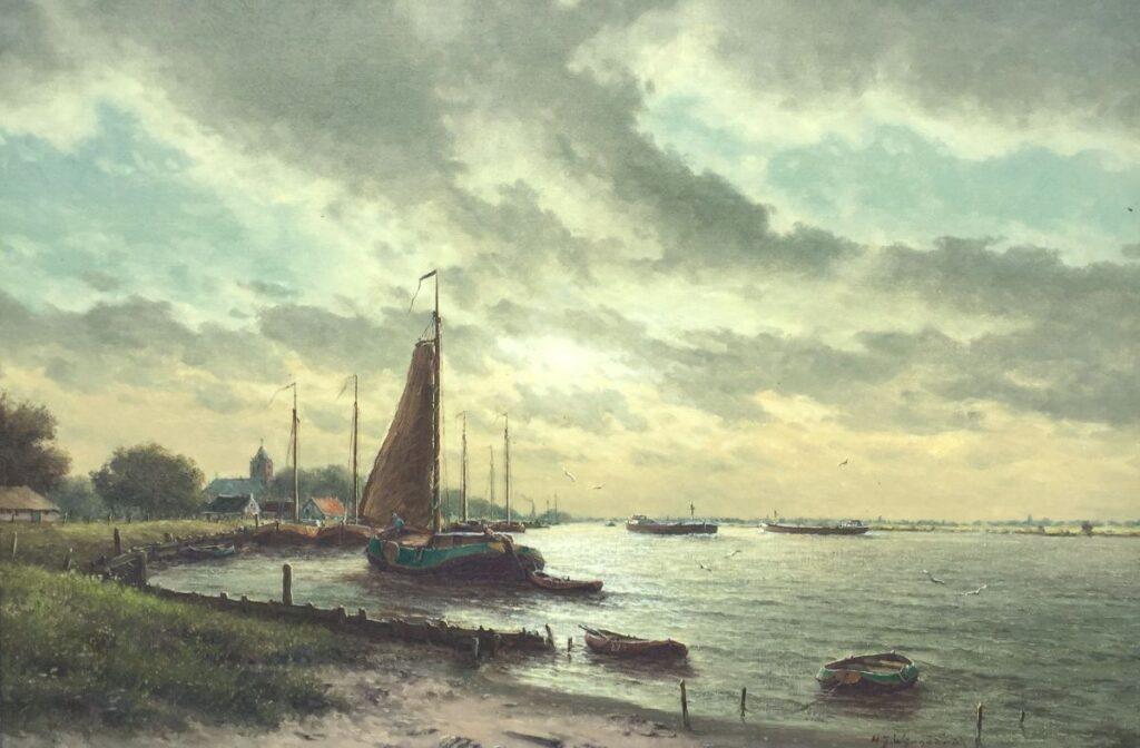 Schilderijen te koop van kunstschilder H.J. Wijngaard Schip in riviermonding olieverf op doek, 60,5 x 90 cm rechtsonder gesigneerd, Expositie Galerie Wijdemeren Breukeleveen