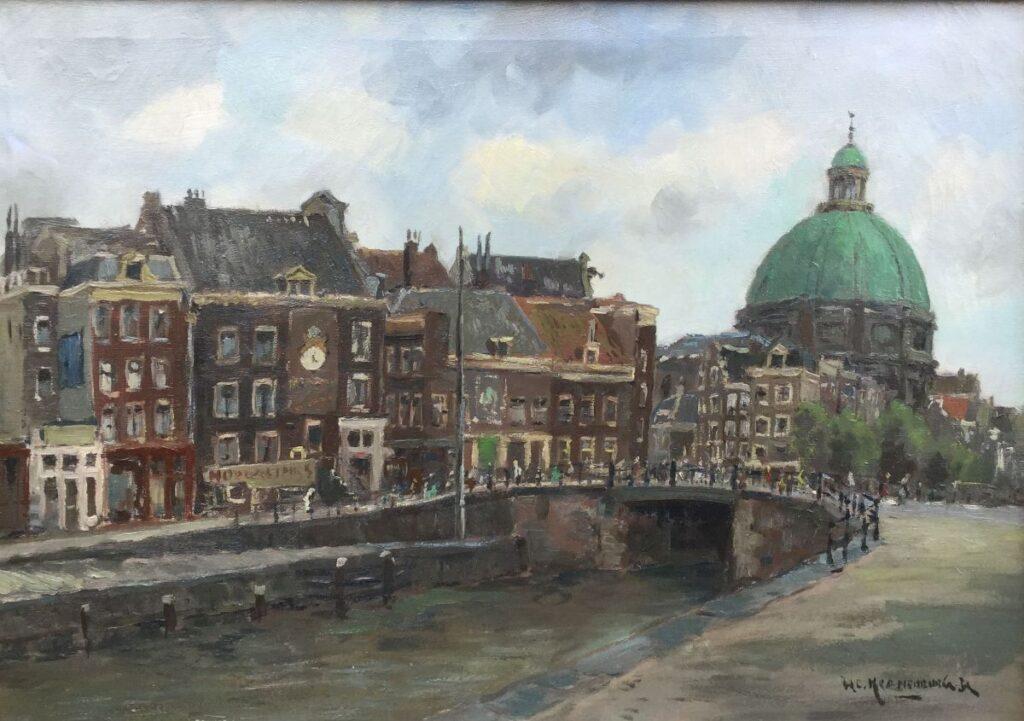 Kunstenaar Hendrik Cornelis Kranenburg C4279, Kranenburg 'Brouwersgracht Amsterdam' Olieverf op doek, beeldmaat: 50,5 x 71 cm Rechtsonder gesigneerd Verkocht