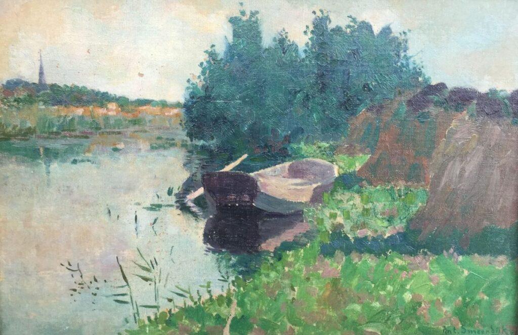 schilderijen te koop van kunstschilder, Anton Smeerdijk Visserspraam bij Kortenhoef olieverf op board, boardmaat 31,5 x 46,5 cm rechtsonder gesigneerd, expositie, galerie wijdemeren breukeleveen