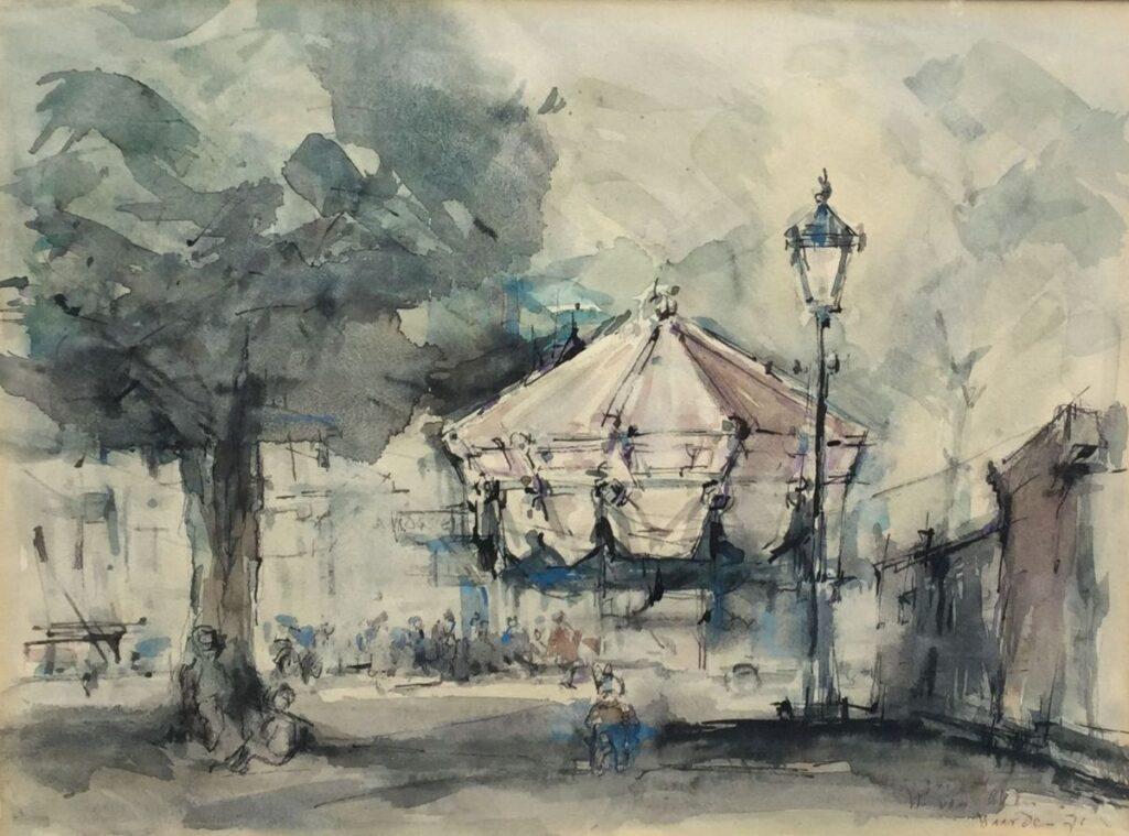 schilderijen te koop van kunstschilder, Wim van Aken Gezicht Naarden aquarel, beeldmaat 28 x 37,5 cm rechtsonder gesigneerd, gedateerd 71, expositie, galerie wijdemeren breukeleveen