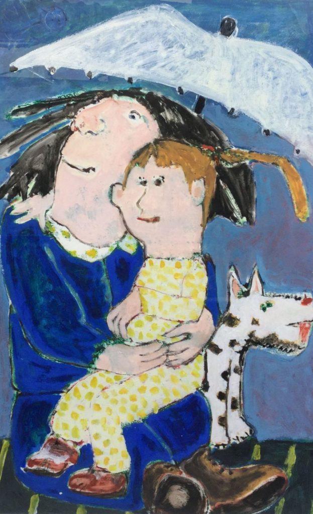 Schilderijen te koop van kunstschilder Henny van Diest moeder en kind olie op papier, Expositie Galerie Wijdemeren Breukeleveen