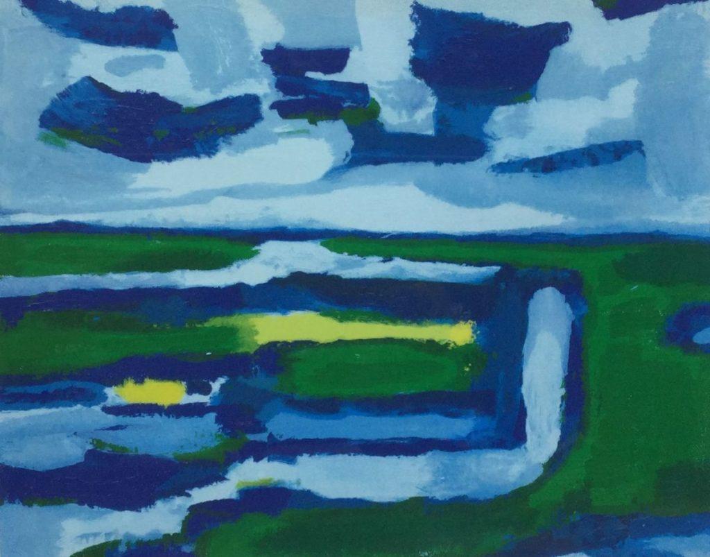 C4297 Gerrit Benner Landschap screenprint, oplage I van XXX, 46 x 55 rechtsonder gesigneerd, te koop bij Galerie Wijdemeren Breukeleveen
