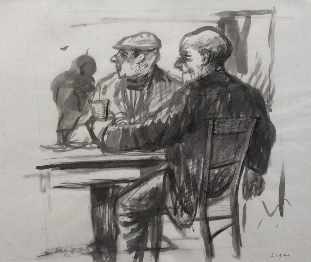C4308-1 Hans van Norden In het café Oost-Indische inkt op papier, 44 x 51 cm Linksonder gesigneerd, rechtsonder gedateerd 1960, te koop bij Galerie Wijdemeren Breukeleveen