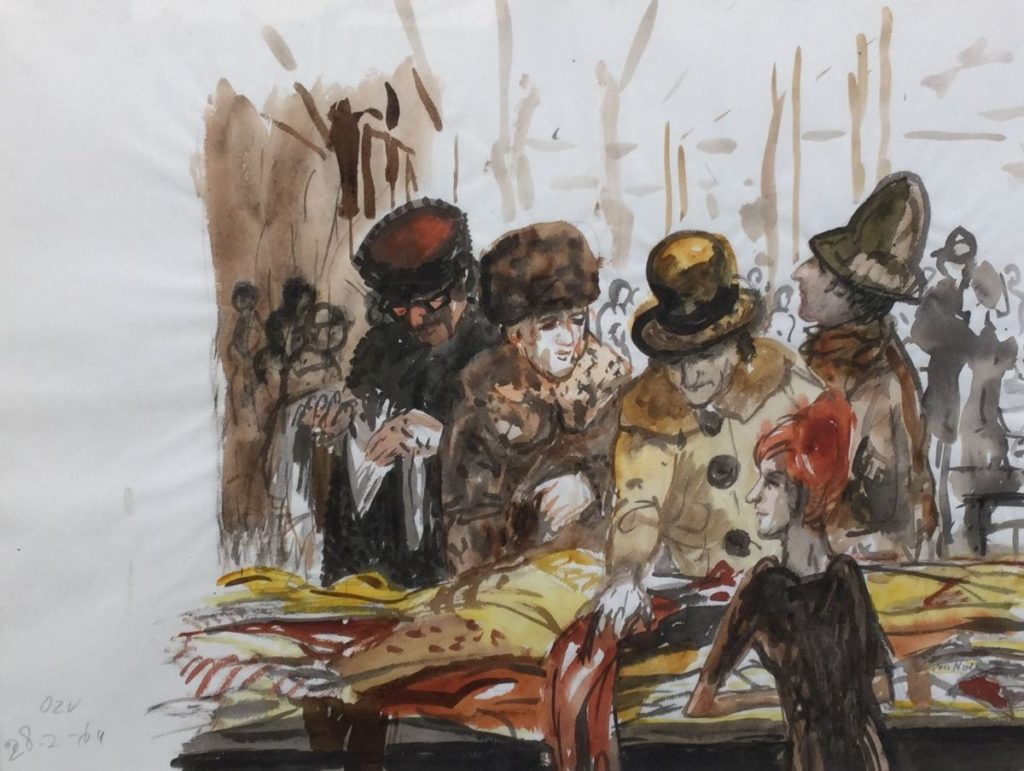 C4308-2 Hans van Norden Gezelschap op de markt aquarel op papier, 45 x 60 cm rechtsonder gesigneerd, linksonder gedateerd 28-2-64, schilderijen te koop bij Galerie Wijdemeren Breukeleveen