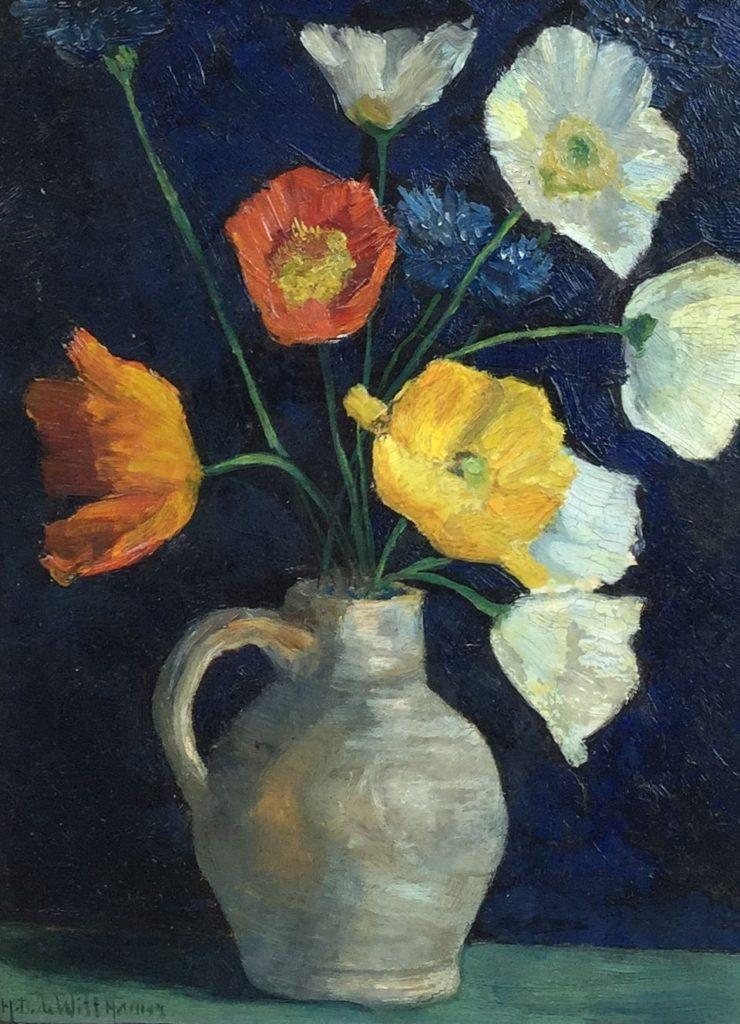 Schilderijen te koop van kunstschilder Herman Dirk de Witt Hamer Stilleven met bloemen in witte kan Olie op paneel, paneelmaat 24 x 17.5 cm, Expositie Galerie Wijdemeren Breukeleveen