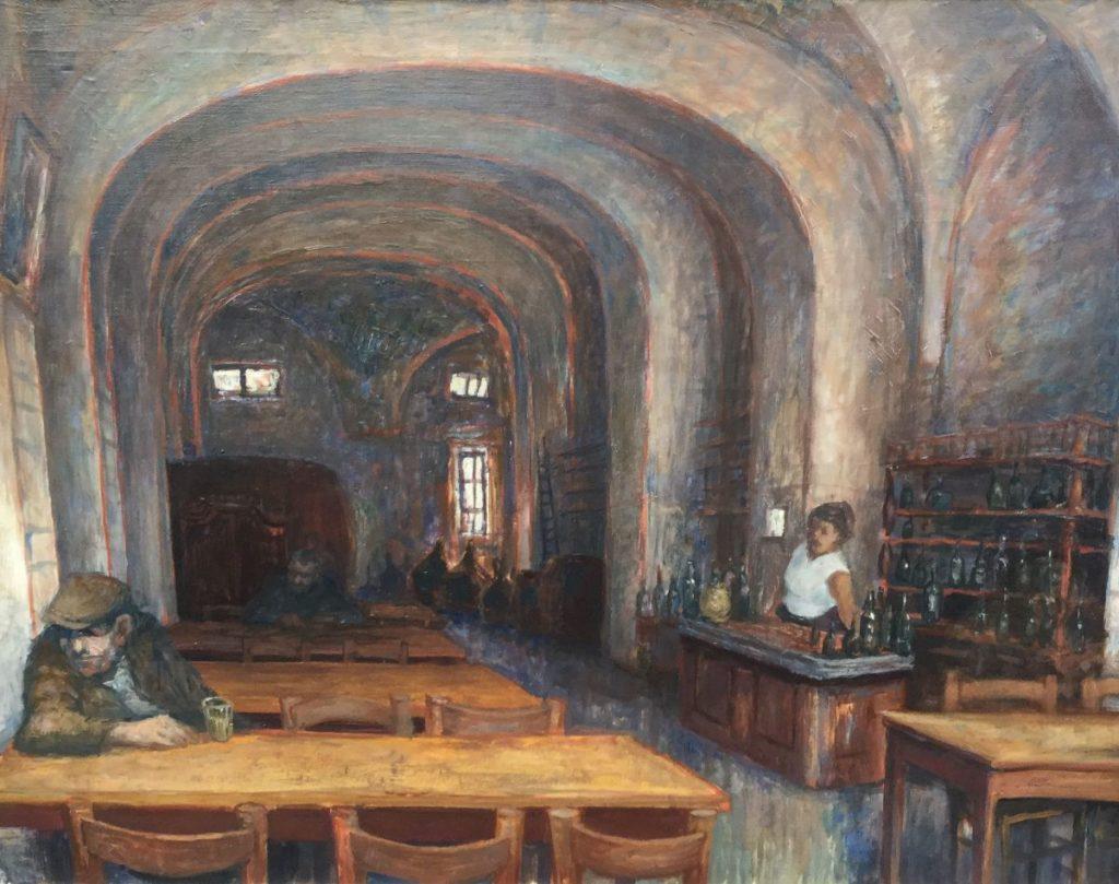 Schilderijen te koop van kunstschilder Hans van Norden dranklokaal olie op doek, 64 x 83,5 cm verso gesigneerd, Expositie Galerie Wijdemeren Breukeleveen
