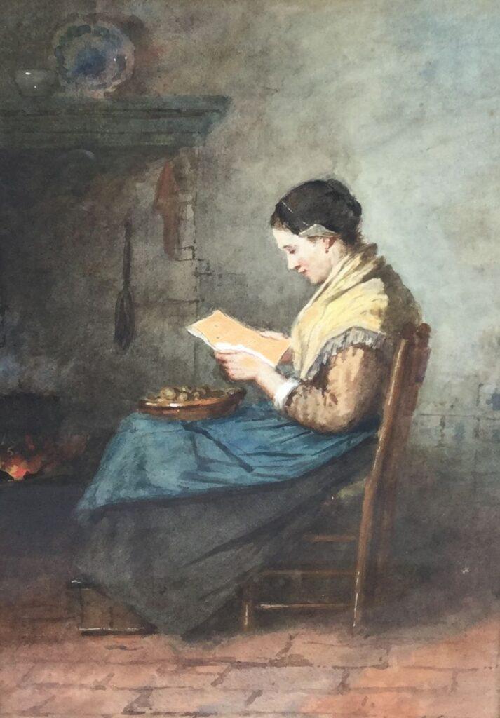 Kunstenaar Johannes Weiland C4322-1 J. Weiland Brieflezende vrouw Aquarel, beeldmaat 35 x 24 cm r.o. gesigneerd verkocht
