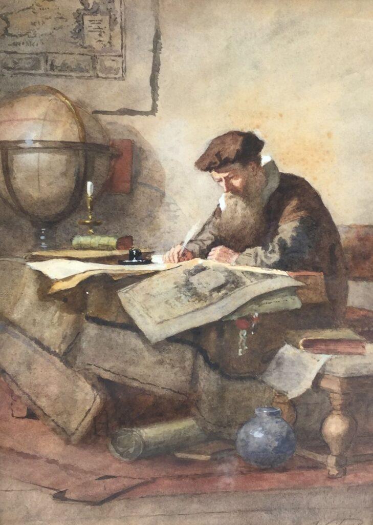 Kunstenaar Johannes Weiland C4322-2 Johannes Weiland De Cartograaf Aquarel, beeldmaat 35 x 24 cm r.o. gesigneerd verkocht