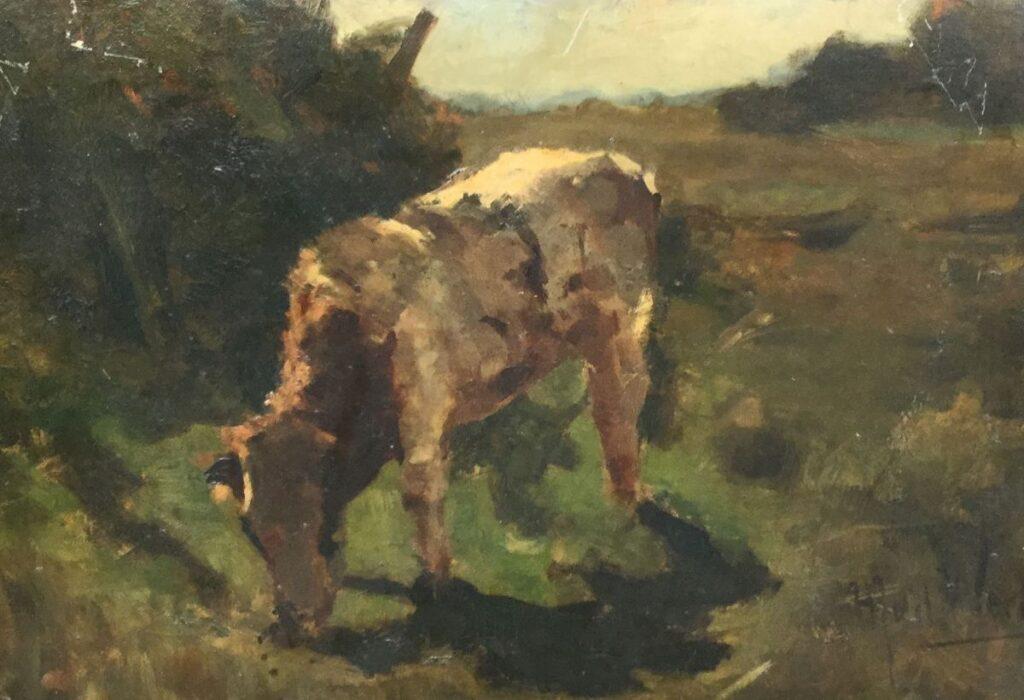 Schilderijen te koop, kunstschilder H.J. vd Weele, Koe olieverf op board, boardmaat 35 x 50,5 cm rechtsonder gesigneerd, Expositie Galerie Wijdemeren Breukeleveen