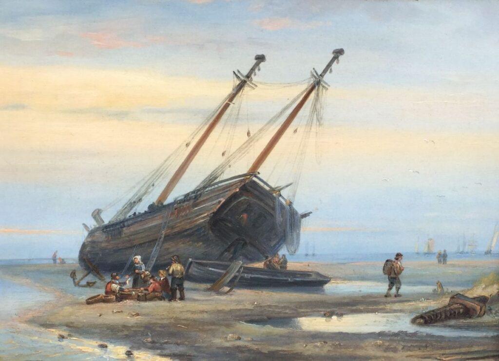 Kunstenaar Ary Pleijsier C4324 A. Pleijsier Schip op het strand olie op paneel, 22,5 x 30,5 cm rechtsonder gesigneerd verkocht