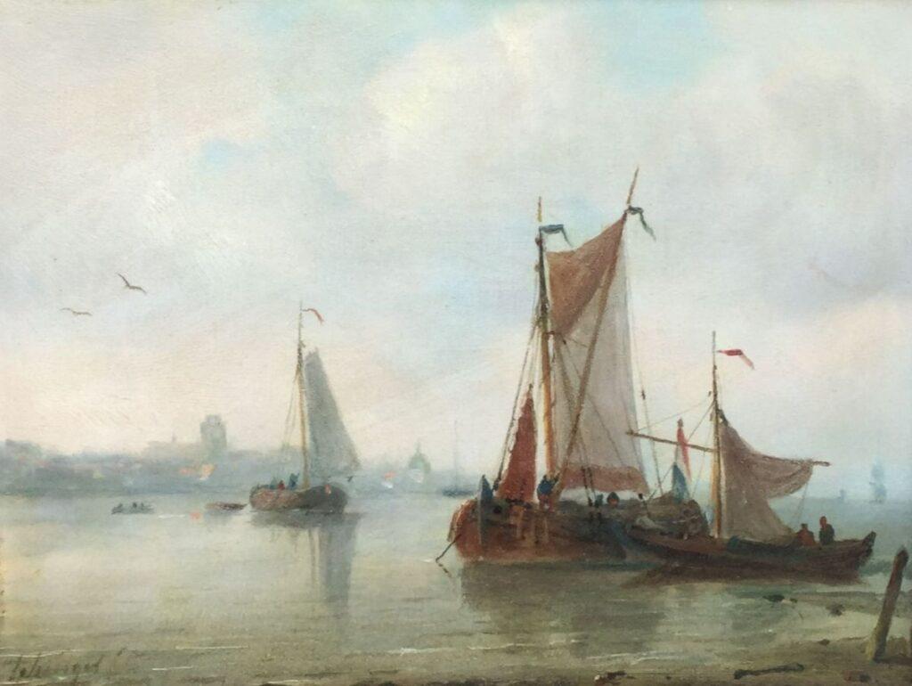 Kunstenaar P.P. Schiedges C4325 P.P. Schiedges Schepen aan de kust Olie op paneel, 18 x 23,5 cm Linksonder gesigneerd
