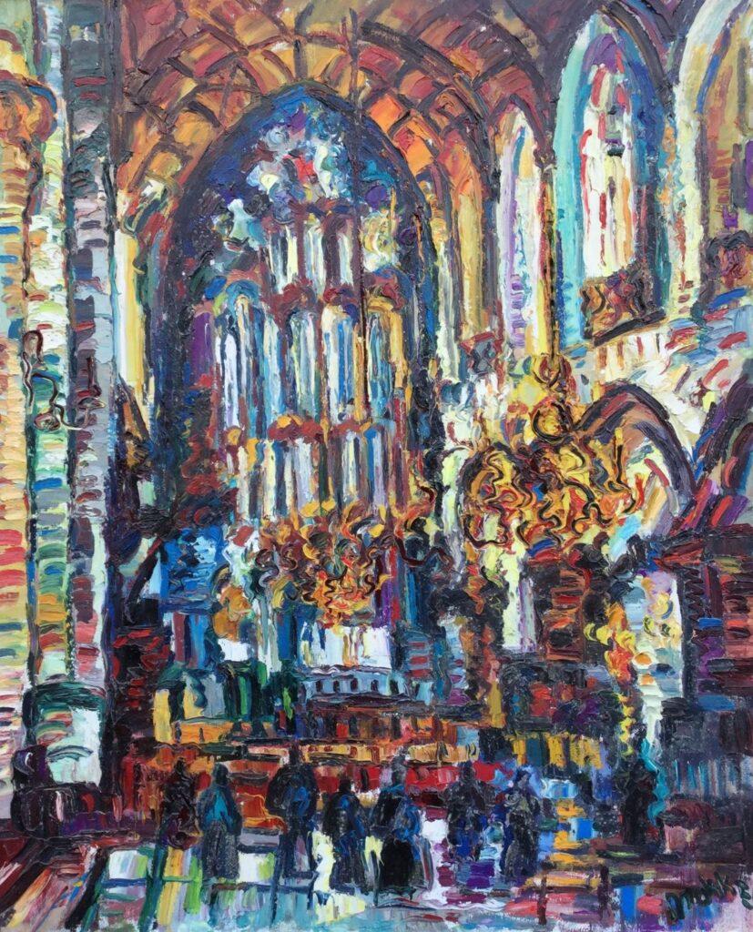 Schilderijen te koop, kunstschilder Jan Makkes Kerkinterieur St. Bavokerk Haarlem olieverf op doek, 116 x 96 cm rechtsonder gesigneerd en gedateerd 1974, Expositie Galerie Wijdemeren Breukeleveen