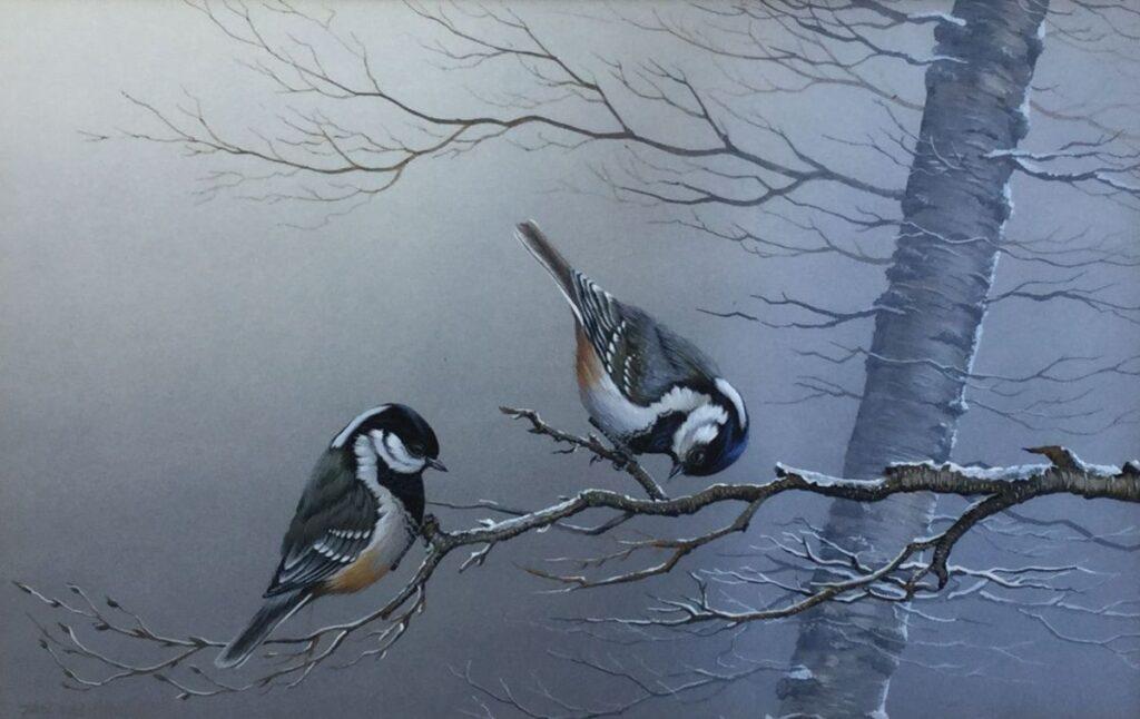 Kunst te koop bij Galerie Wijdemeren van J. Weenink Zwarte mezen op een winterse tak gouache op papier, 18,5 x 29,5 cm l.o. gesigneerd, gedateerd 83