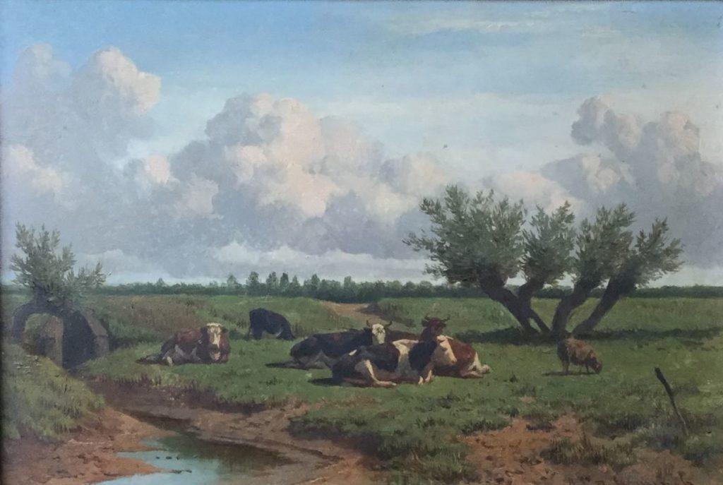 schilderijen te koop van kunstschilder, Arie Ketting de Koningh Koeien in landschap olie op paneel, paneelmaat 21 x 30,5 cm rechtsonder gesigneerd, expositie, galerie wijdemeren breukeleveen