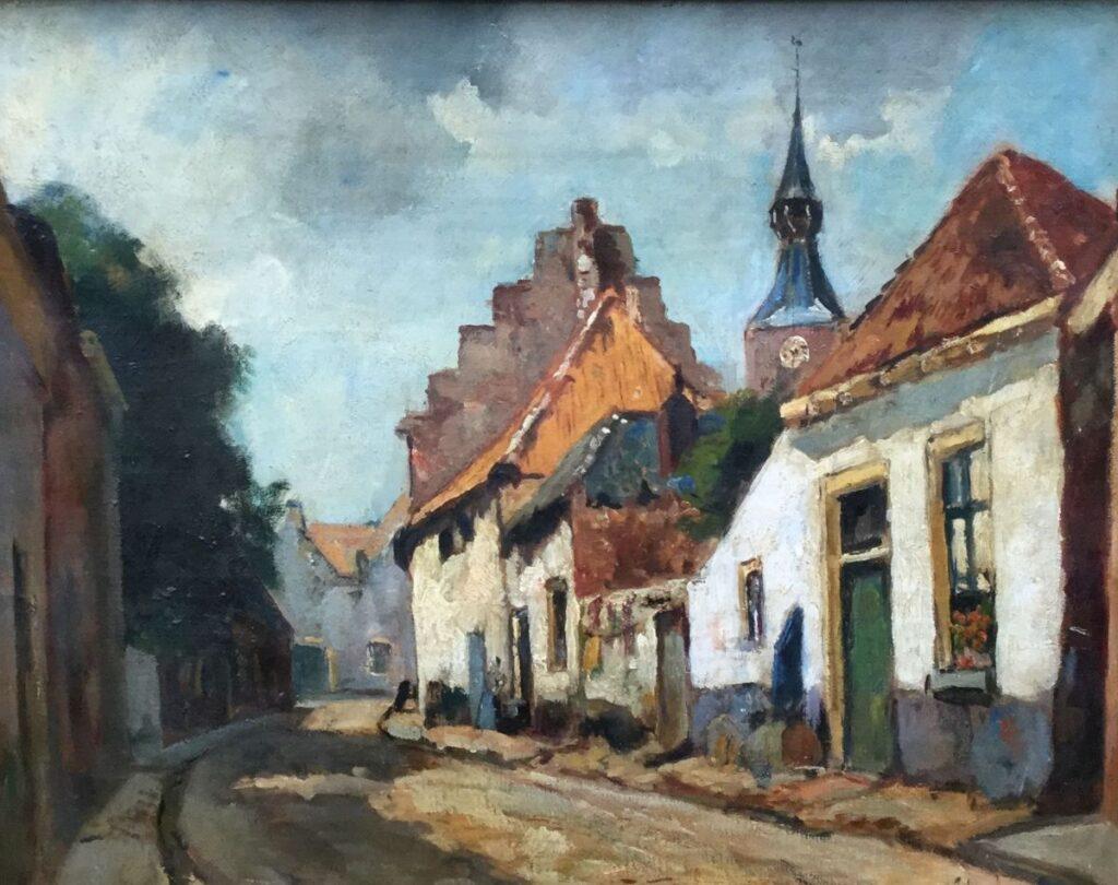 Schilderijen te koop van kunstschilder Jan van Vuuren Straatje te Elburg olie op doek, gesigneerd, Expositie Galerie Wijdemeren Breukeleveen