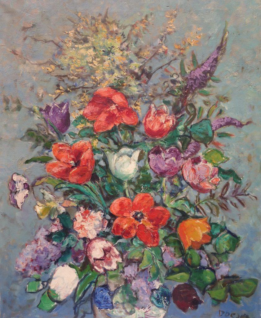 Kunstenaar J.J. Doeser C434 J.J. Doeser Bloemstilleven olie op doek, 98 x 74 cm rechtsonder gesigneerd