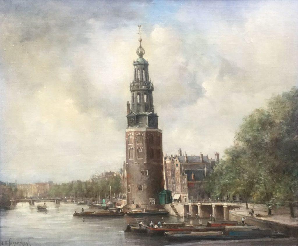 Schilderijen te koop van kunstschilder C.A. Streefkerk Zicht op de Munt, Amsterfdam olie op doek, gesigneerd, Expositie Galerie Wijdemeren Breukeleveen