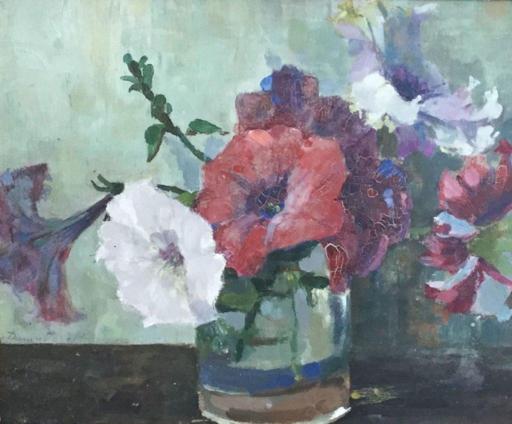 C4346 L. van Dam van Isselt Bloemstilleven olie op paneel, paneelmaat 22 x 27 cm linksonder gesigneerd, schilderijen te koop bij Galerie Wijdemeren Breukeleveen