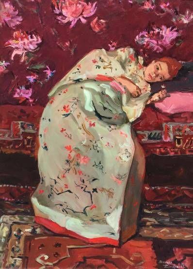Schilderijen te koop, kunstschilder Sacha Borgen Lindhardt Kimono olie op paneel, paneelmaat 40 x 30 cm rechtsonder gesigneerd, Expositie Galerie Wijdemeren Breukeleveen