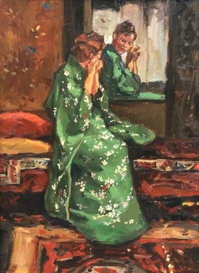 schilderijen te koop van kunstschilder, Sacha Borgen Lindhardt Kimono Groen olie op paneel, paneelmaat 40 x 30 cm rechtsonder gesigneerd, expositie, galerie wijdemeren breukeleveen