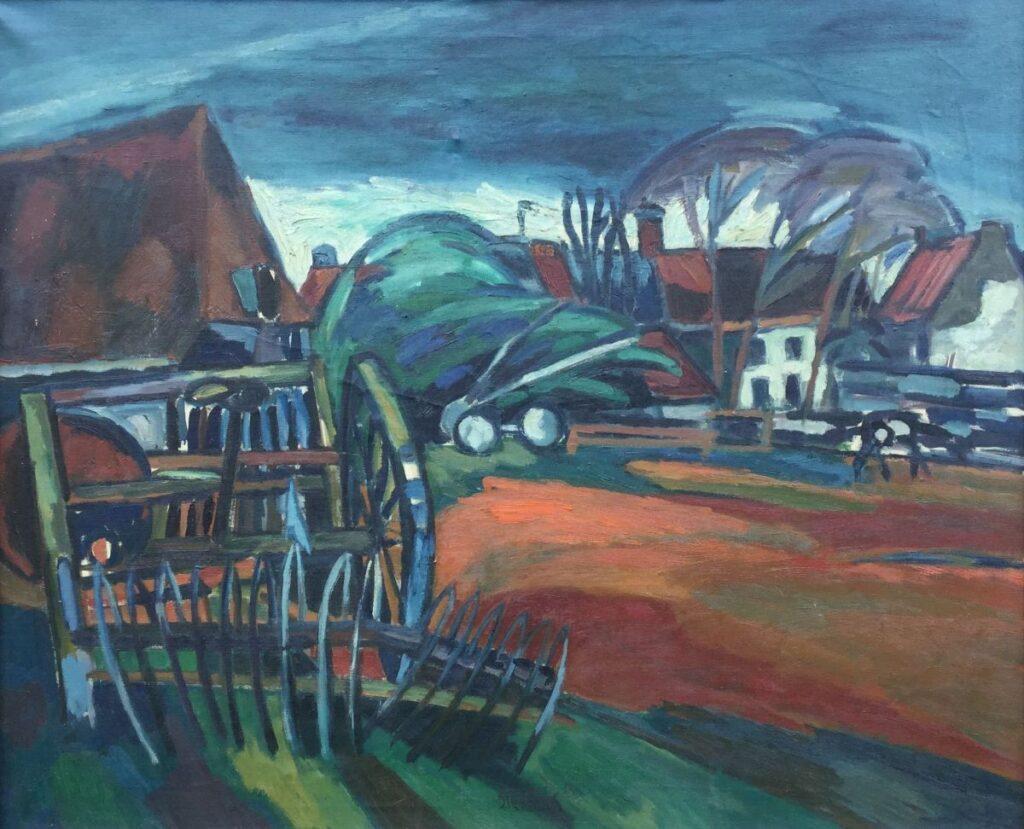 Schilderijen te koop, kunstschilder Jan Sierhuis Olieverf op doek, beeldmaat 90 x 110 cm Middenonder gesigneerd, Expositie Galerie Wijdemeren Breukeleveen