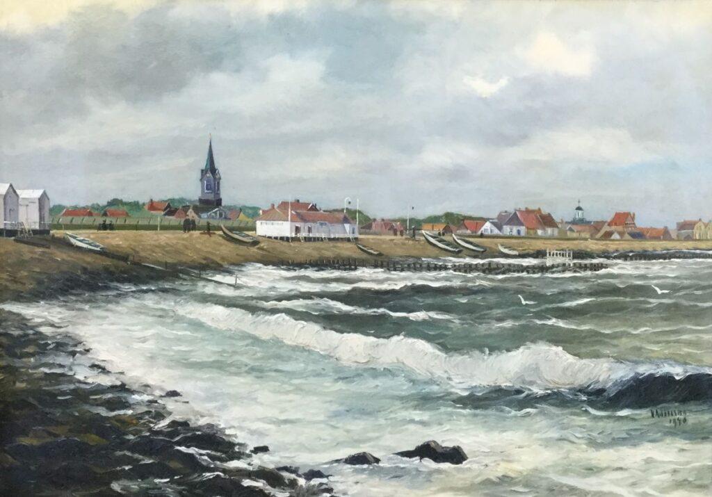 Schilderijen te koop, kunstschilder Haaike Abraham Jaarsma Huisduinen olie op board, 50 cm x 70 cm r.o. gesigneerd, gedateerd 1940, Expositie Galerie Wijdemeren Breukeleveen