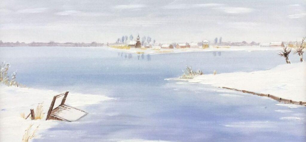 Kunstenaar Andre Tellier C4363 Andre Tellier Wintergezicht Loosdrecht gesigneerd